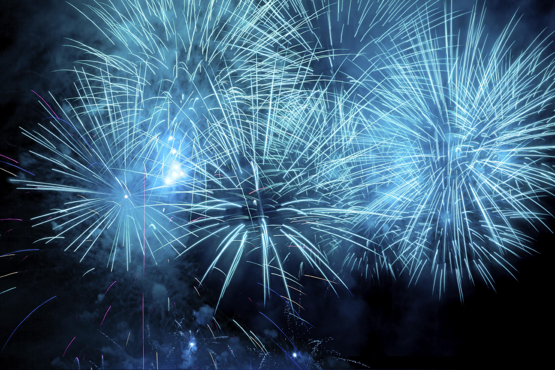Cluster of vibrant fireworks